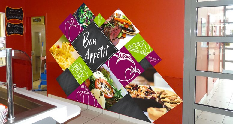 decoration habillage interieur stickers restaurant cafeteria